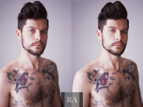 Male portrait photo retouching
